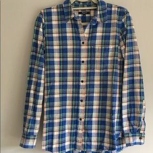 XS Madewell Blue Plaid Flannel Shirt